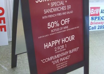 sandwich board lettering signs restaurant
